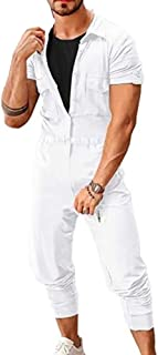 Men's Casual Short Sleeve Buttons Jumpsuit Romper Street Fashion Overalls Playsuit Rompers Long Trousers