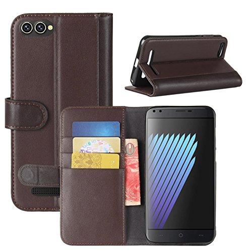 HualuBro Doogee X30 Hülle, Echt Leder Leather Wallet Handyhülle Tasche Schutzhülle Hülle Flip Cover mit Karten Slot für Doogee X30 5.5 Inch Smartphone (Braun)
