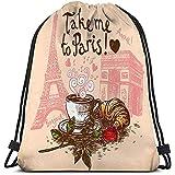 BOUIA Classic Drawstring Bag Sport Storage Bag llévame al Concepto de París Dibujado a Mano Taza de café Croissant Arco de la Torre Eiffel