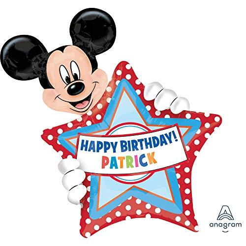 amscan 2636401 Folienballon SuperShape Micky Maus Birthday Personalisierbar, Mehrfarbig