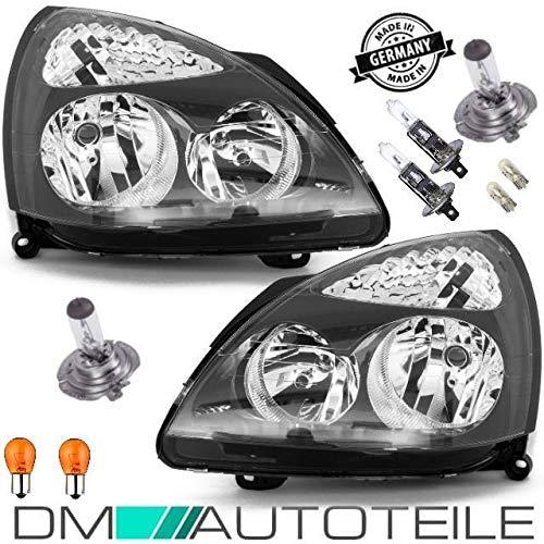 DM Autoteile 2x Clio II 2 SCHEINWERFER SET VR6 LOOK KLARGLAS SCHWARZ 01-05+BLINKER