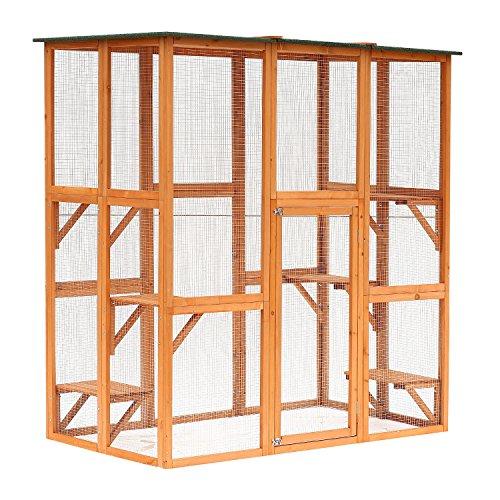 "PawHut 71"" x 39"" x 71"" Large Wooden Outdoor Cat Enclosure Catio Cage"