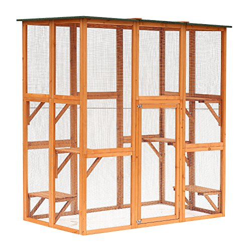 PawHut Large Wooden Outdoor Cat Enclosure Catio Cage with Ramp and Covered House