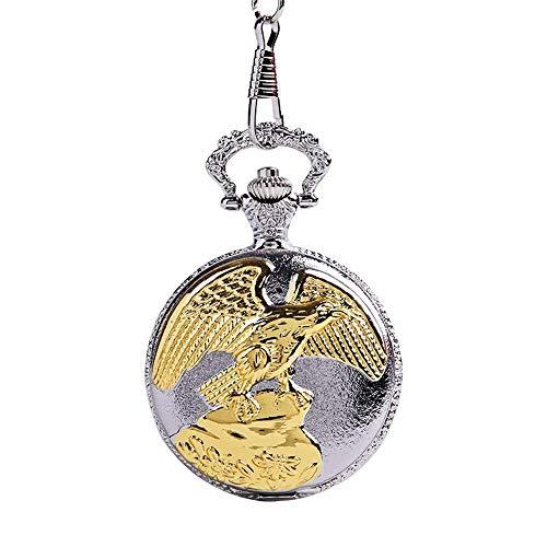 BeiMi Reloj de Bolsillo Vintage, Cara de Concha Plateada Retro clásica de Cadena Gruesa Tallada con patrón de alas de águila Dorada Reloj de Bolsillo conmemorativo