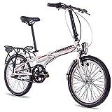 CHRISSON Bicicleta plegable de 20 pulgadas – Foldrider 2.0 Blanco – Bicicleta plegable para hombre y mujer – Bicicleta plegable de 20 pulgadas con 3 marchas Shimano Nexus – Bicicleta plegable de ciudad