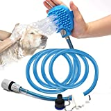 FancyWhoop 2 in 1 Hundedusche Haustier Duschkopf with Bürste for Dog Cat Grooming Brushes Massage for Large Medium Small Pet Outdoor Bath (2.5 m, Blau)