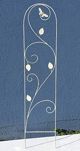 GeKi Trend Rankhilfe Rankgitter Eisen Metall antik weiß 21 x 102 cm groß Libellen-Schmetterling