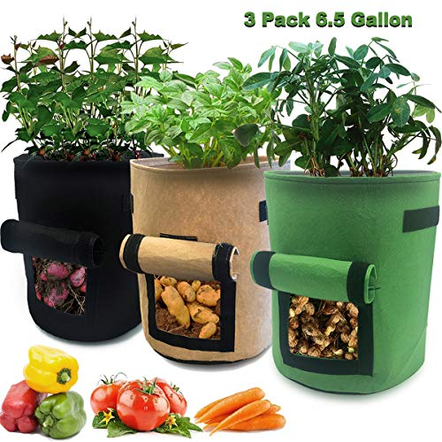 3 Pcs 6.5 Gallon Garden Boxes, Easy to Harvest, Planter Pot with Flap and Handles, Garden Planting Grow Bags for Potato Tomato and Other Vegetables, Breathable Nonwoven Fabric Cloth.