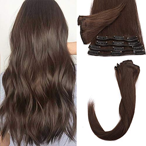 40cm - Extension Capelli Veri con Clip 8 Pezzi Full Head Remy Hair Extension 65g Capelli Lisci Naturali 18 Clips in Extension - 4 Marrone Cioccolato