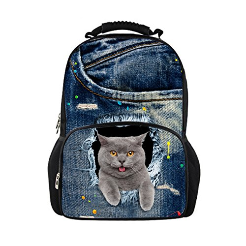 Showudesigns - Mochila para colegio, diseño de vaqueros y gatos, color azul Multicolor color 3