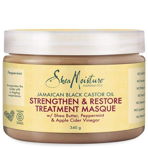 Shea Moisture Jamaican Black Castor Oil, Masque de traitement à l'huile de ricin, pour réparer et renforcer/stimuler la croissance des cheveux, 326 ml