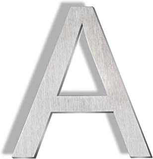 Mellewell Floating Mount House Letters 5 Inch, Stainless Steel Brushed Nickel, Letter A