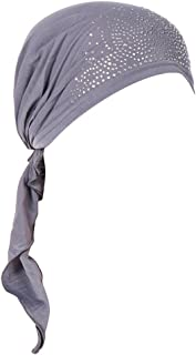 Timlatte Moslemischer Turban verknotete Headwrap-Frauen-afrikanisches Muster-Polyester-Baumwollchemo-Haar-Verlust-elastisches Kopftuch