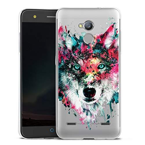 DeinDesign Silikon Hülle kompatibel mit ZTE Blade V7 lite Hülle transparent Handyhülle Riza Peker Wolf bunt