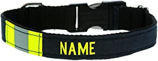 Fully Involved Stitching Personalized Firefighter Black Turnout Gear Dog Collar