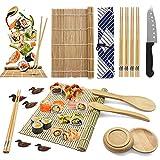 ELCM Sushi Kit 18 Pezzi Kit per Fare Sushi in bambù, 2 Stuoie Sushi, 1 Scoop di Riso,1 Coltello di bambù, 2 piatti, 5 Paia di Bacchette e 5 poggia bacchette e tanti altri