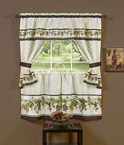 """PowerSellerUSA 5-Piece Embellished Kitchen Curtain Cottage Set with Tier Panels, Swag Valance and Tiebacks, Floral Country House Kitchen Set Cafe Curtain for Kitchen & Living Room, 57"""" wide x 24"""" long"""