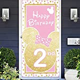 Cartoon Golden Pink Mouse Happy 2nd Birthday Photo Banner Backdrop Background Supplies Favors Backdrop Oh Twodles Theme Decor for Boy Girl Princess High Chair Birthday Party Baby Shower Decorations