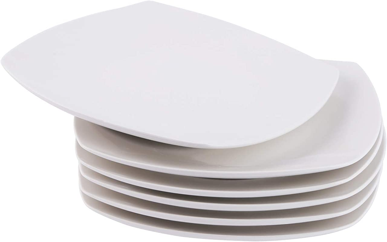 Cutiset 10 5 Inch Porcelain Square Salad Desert Dinner Plates Set Of 6 White 10 5 Inch Square