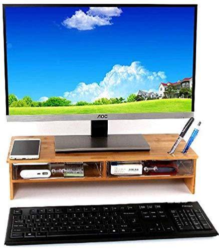 Anberotta モニター台 2段 木製 パソコン台 机上台 パソコン スタンド 机上ラック pc台 机上収納 引き出し付き キーボード収納 J95 (ブラウン)