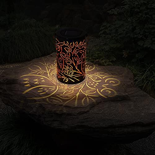 CRZJ Luz Solar Linterna Linterna Hollow Linterna Lámpara de Mano Colgante Lámpara de proyección al Aire Libre Jardín Paisaje