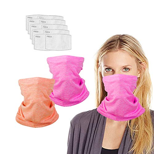 Neck Gaiter with Filters for Men Women, Face Cover Multi Funtion, Mask Half Face Protective Bandana, Washable Reusable, Infinity Scarf, Orange Pink Balaclava, Gift for Adult, Anti Dust Protection.