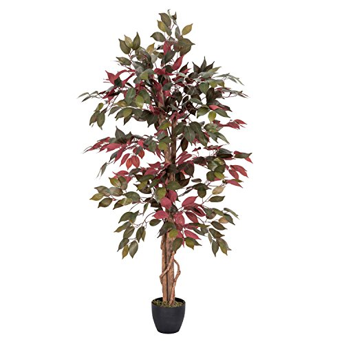 HOMESCAPES Artificial Tree Capensia in Pot approx. 135 cm high Lifelike Leaves and Silk Flowers Replica Artificial Tree