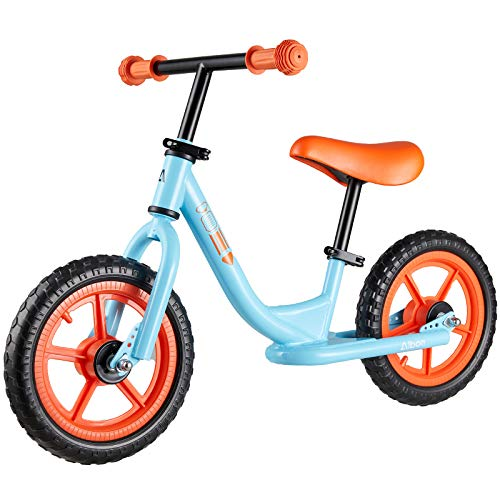 Albott Sport Balance Bike Toddler Bike Footrest Lightweight w/Adjustable Seat Handlebar Height & 12 Inch Inflation-Free EVA Tires, Toddler Training Bike for Child Age 18 Months 2 3 4 5 (Sky Blue)