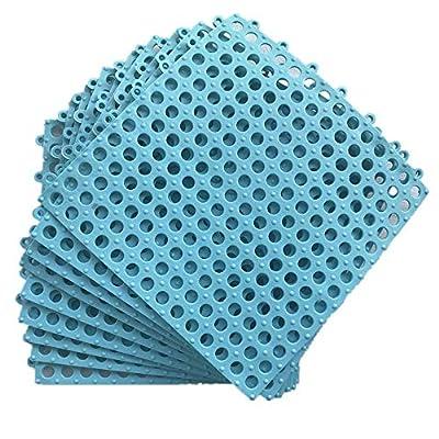 "(Smabee) 9Pcs Interlocking Soft PVC Non-Slip Tile Splicing Waterproof Mat Drain Pool Shower Bath Kitchen Cushion 11.75"" x 11.75"" Mats Thin Type (Light Blue)"