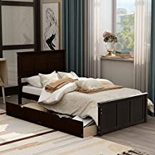 Platform Bed with Storage, Rockjame Solid Pine Wood Twin Bed Frame, 2 Drawers with Wheels, Retro Appearance, Suitable for Kids, Teen and Adults (Espresso)