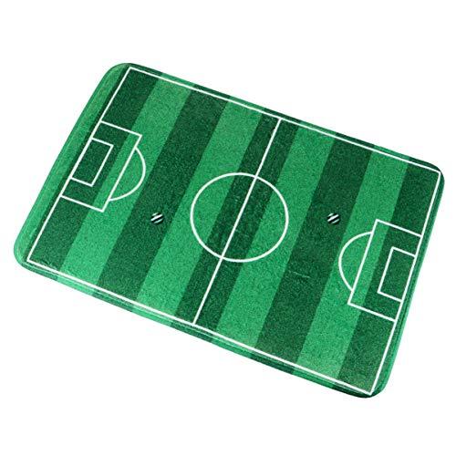 BESPORTBLE 1 alfombra antideslizante duradera práctica suave mini campo de fútbol de franela para dormitorio, sala de estar y baño (verde oscuro)