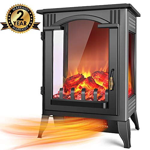 Infrared Fireplace Heater - 1500W / 750W Infrared Electric Fireplace Heater with 3D Flame Effect, Adjustable Flame Brightness, Overheat Protection, Large Size Room Electric Wood Stove for Indoor Use