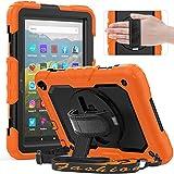 Timecity Funda para Kindle Fire HD 8 / HD 8 Plus (10ª generación 2020), funda protectora completa con protector de pantalla, soporte giratorio 360°, correa de mano, soporte para lápices, color naranja