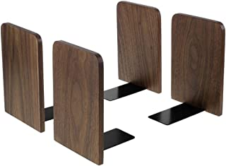 Bookends, Wood Book Ends for Shelves, Metal Base Non-Skid Bookends for Heavy Books Office Desk DVD, Magazine Black 6.69 X 4.7 X 4.1inch, 2Pair/4 Pieces (Big Size)