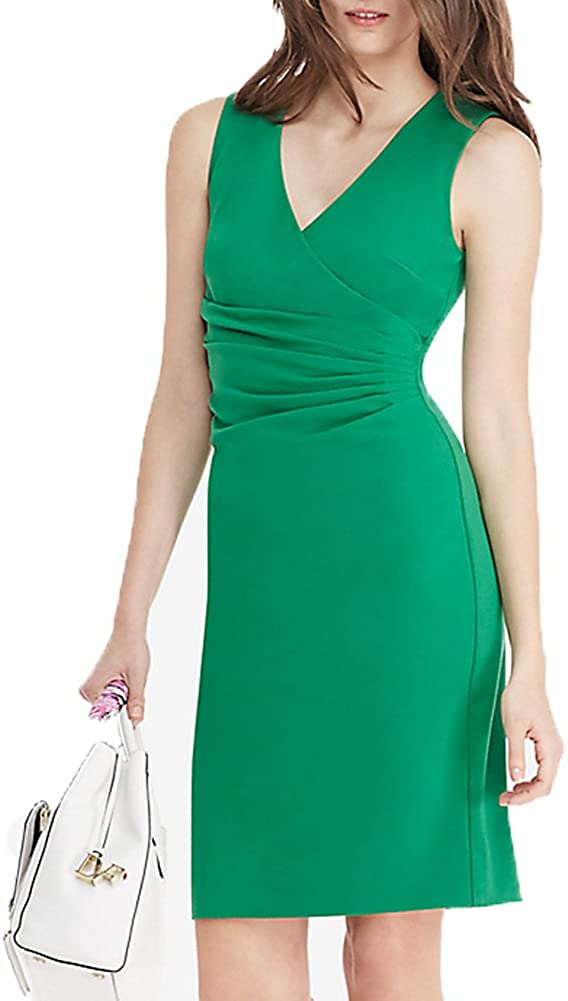 WOOSEA Women's Elegant Deep V Neck Sleeveless Business Wear to Work Pencil Dress