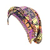 Qianmome Womens African Style Braided Dreadlock Hat Bandanas Headwear Cap Turban Chemo Cap Purple