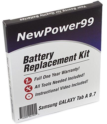 Akku-Austausch-Kit für das Samsung Galaxy Tab A 9.7 SM-P550, SMT-550, SM-P555, SM-T555, Tab A 9.7 Plus mit Installations-Video, Werkzeuge und langarbeitenden Akku