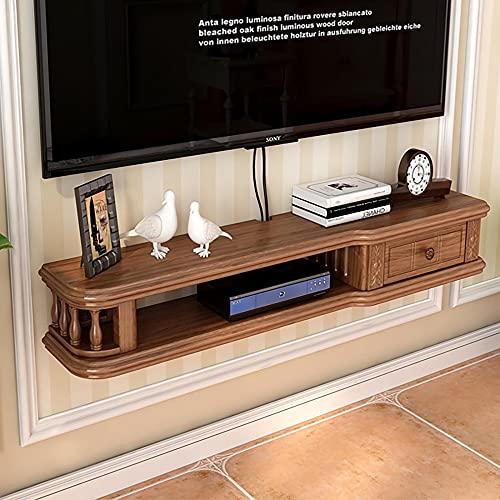 Mueble de TV Mesa Flotante,Unidad de TV Flotante Madera Maciza,Mueble TV colgante Apartamento PequeñO para Sala Estar,Dormitorio,Decodificador,Estante/C / 120cm