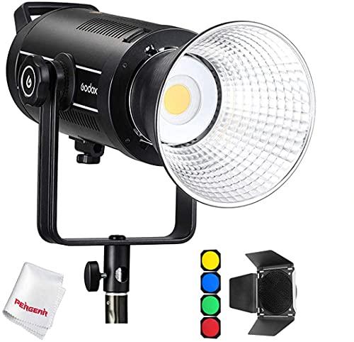 Godox SL150WII LED Dauerlicht Videoleuchte 5600K Weiss Licht, CRI 96 TLCI 97 Genaue Farbe, Eingebaute 8 FX-Lichteffekte, 58000lux@1m, Ultra-leiser Lüfter mit BD-04 Barndoor Kit