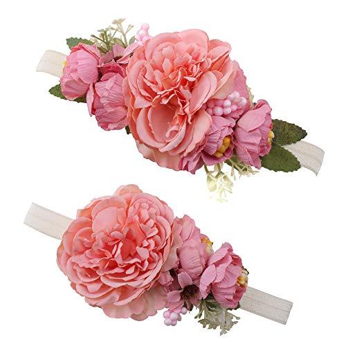 OOSAKU Diademas con flores para madres y bebés accesorios para el cab
