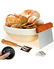 10 InchProofing Basket,WERTIOO Bread Proofing Basket + Bread Lame +Dough Scraper+ Linen Liner Cloth for Professional & Home Bakers