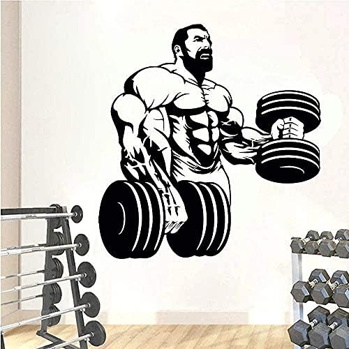 Pegatinas de pared calcomanías de arte decoración logotipo de fitness levantamiento de pesas hombres musculosos entrenador de fitness decoración de gimnasio chica 57X60CM