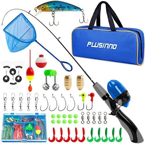 PLUSINNO Kids Fishing Pole Portable Telescopic Fishing Rod and Reel with Fishing Net Grey Handle product image