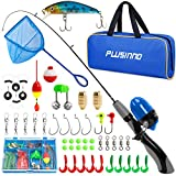 PLUSINNO Kids Fishing Pole,Portable Telescopic Fishing Rod and Reel with Fishing Net (Grey Handle with Net, 150cm 59.05In)
