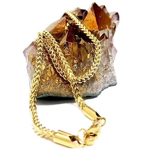 Franco - Collana a catena in oro 24 carati, 3 mm, taglio a diamante, da uomo e da donna, con chiusura solida e resistente e 14ct metallo con base placcato oro, cod. NA