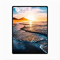 """フランネルスローブランケットスーパーソフトコージー、 夕陽の海辺のビーチ マイクロフリースブランケット、ベッドソファキッズギフト用 (Size : Twin(60""""x 80""""))"""