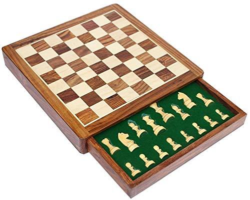 Metallic India Tablero de ajedrez plegado hecho a mano - Juego de tablero de ajedrez de madera premium con piezas magnéticas hechas a mano (cajón no plegable de 12 x 12)