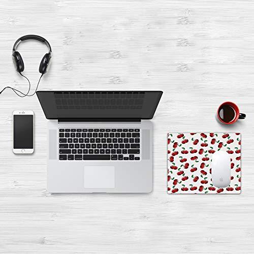 Comfortable Mouse Pad 32x25 cm,Frutas, cerezas vibrantes Vitamina Agricultura Patrón de jardín de verano exótico, R,Base de Goma Antideslizante Wipe Washable para Gamers Ordenador, PC y Laptop32x25 cm
