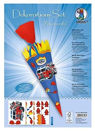 Dekorationsset Feuerwehr, 4 Bogen Bastelkarton DIN A4, beidseitig bedruckt, vorgestanzt, genutet, zum Dekorieren einer Schultüte, teilweise veredelt, mit Satinband