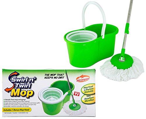 bucket with bonus mops Swirl N Twirl Swirl N' Twirl Mop & Bucket System Green/White